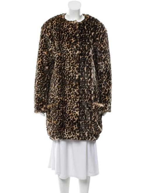 Nina Ricci Faux Fur Leopard Print Coat w/ Tags Tan