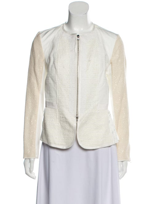 Nina Ricci Sequin-Accented Zip-Up Jacket White