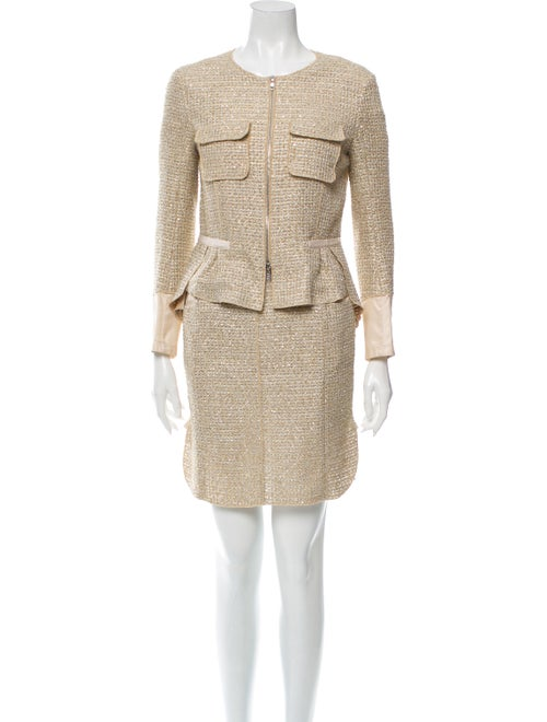 Nina Ricci Tweed Pattern Skirt Suit Gold