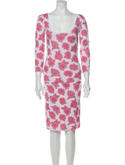 Nina Ricci Floral Print Skirt Set Pink