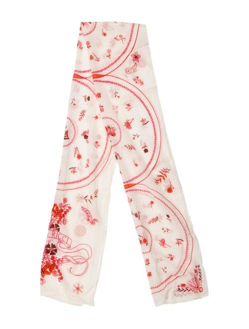 Nina Ricci Floral Print Scarf Red