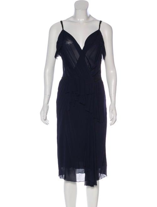 Nina Ricci Ruffle Midi Dress Navy