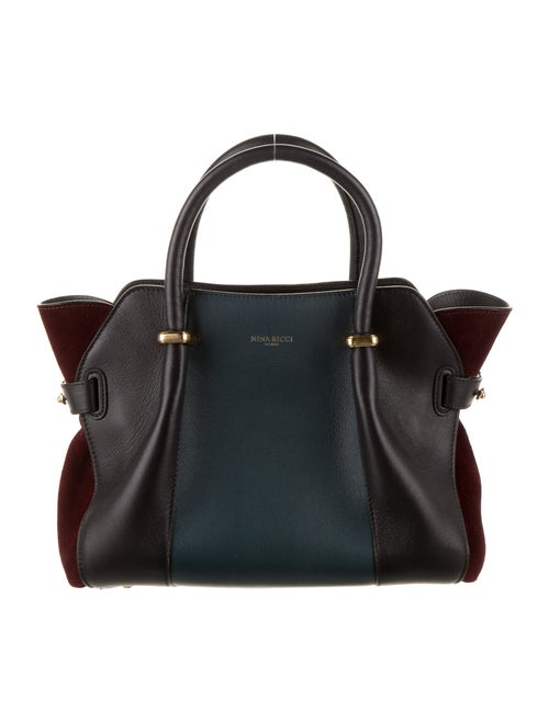 Nina Ricci Color Block Leather Shoulder Bag Blue