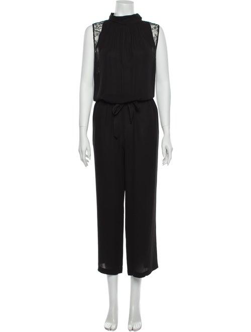 Nina Ricci Silk Mock Neck Jumpsuit Black