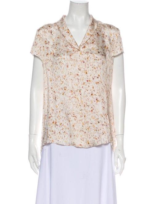 Nina Ricci Silk Floral Print Blouse White