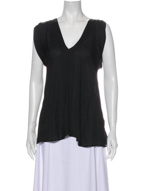 Nina Ricci V-Neck Sleeveless Blouse Black