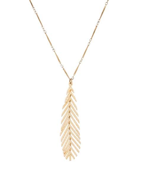 Nina Ricci Feather Pendant Necklace Gold