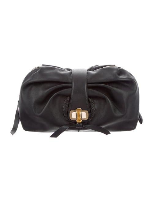 Nina Ricci Leather Zip Clutch Black