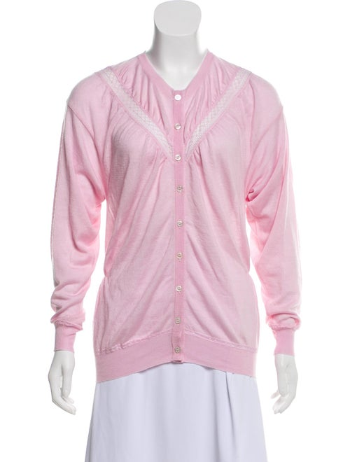 Nina Ricci Lace-Accented Cashmere Cardigan pink