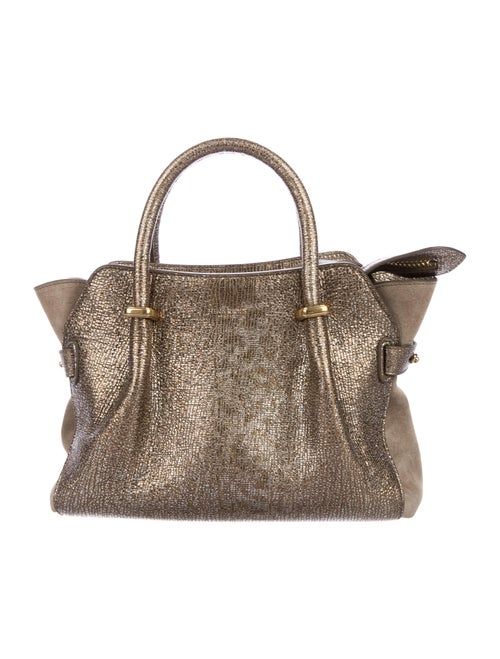 Nina Ricci Metallic Leather Satchel Bag Metallic