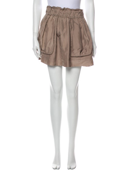 Nina Ricci Silk Mini Skirt Brown