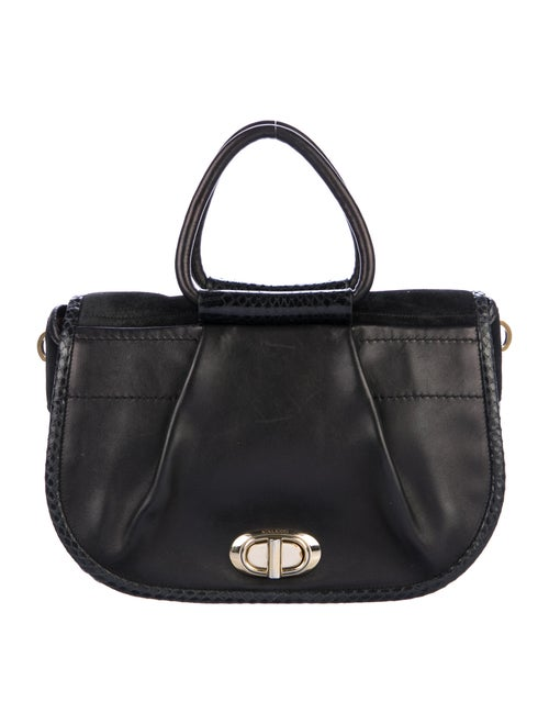 Nina Ricci Python-Trimmed Handle Bag Black