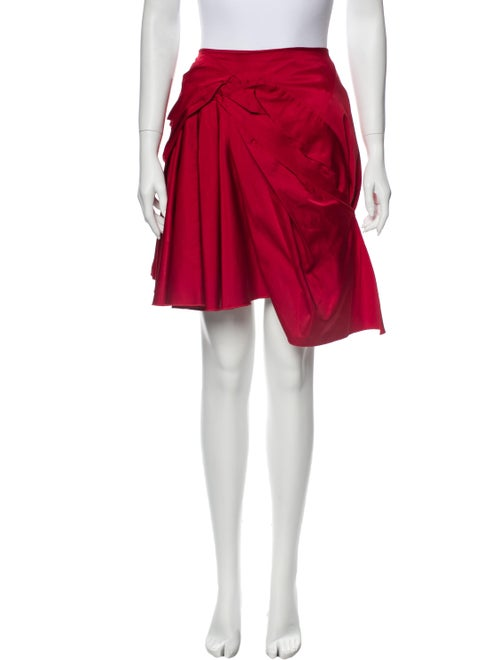 Nina Ricci Pleated Accents Knee-Length Skirt Red