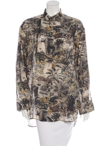 No. 21 Embellished Elephant Print Top None