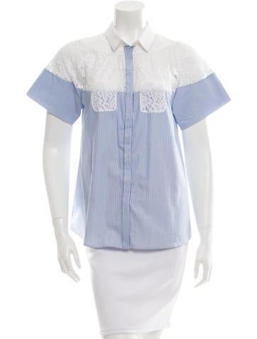 No. 21 Lace-Paneled Button-Up Top None