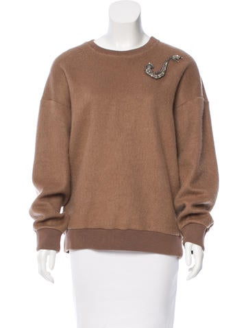 No. 21 Embellished Crew Neck Sweater None