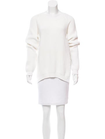 No. 21 Lace-Trimmed Rib Knit Sweater None
