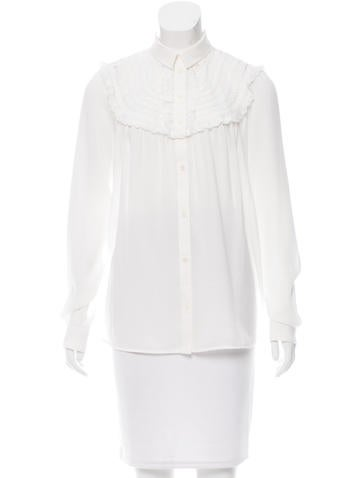 No. 21 Lace-Accented Button-Up Top None