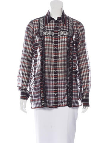 No. 21 Lace-Trimmed Plaid Top None