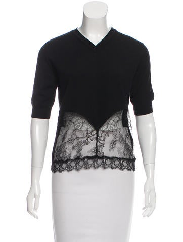 No. 21 Wool Lace-Accented Top None