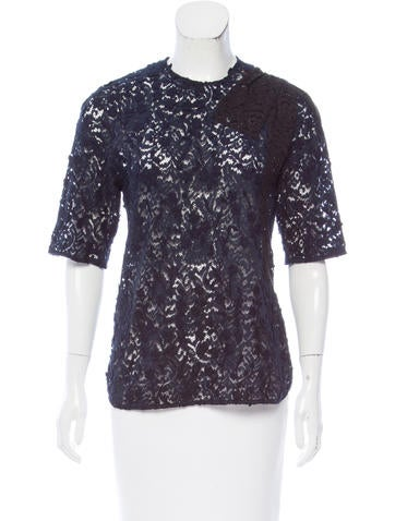 No. 21 Lace Short Sleeve Top None