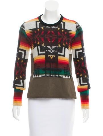 No. 21 Fleece Wool Intarsia Knit Sweater None