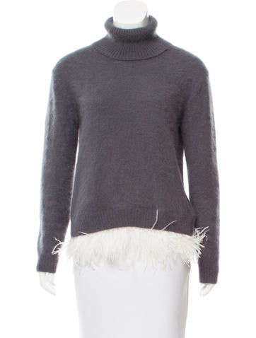 No. 21 Ostrich Feather-Trimmed Angora Sweater None
