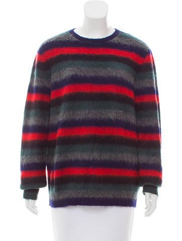 No. 21 Striped Mohair-Blend Sweater None