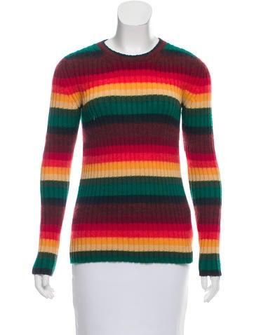 No. 21 Striped Rib Knit Sweater None