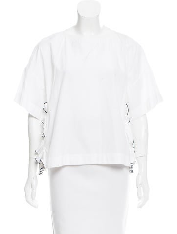 No. 21 Ruffle-Trimmed Short Sleeve Top None