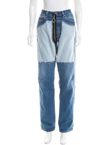Off-White Velvet-Accented Straight-Leg Jeans