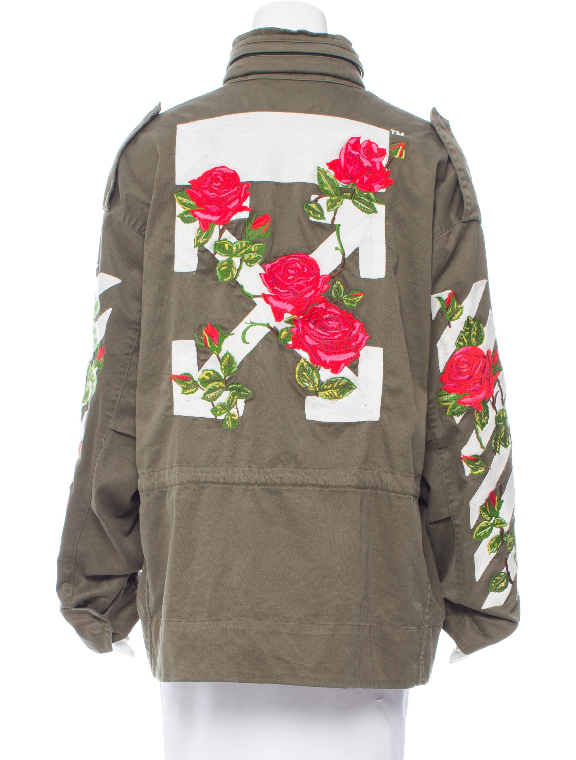 OffWhite 2017 RoseEmbroidered Cargo Jacket  Clothing