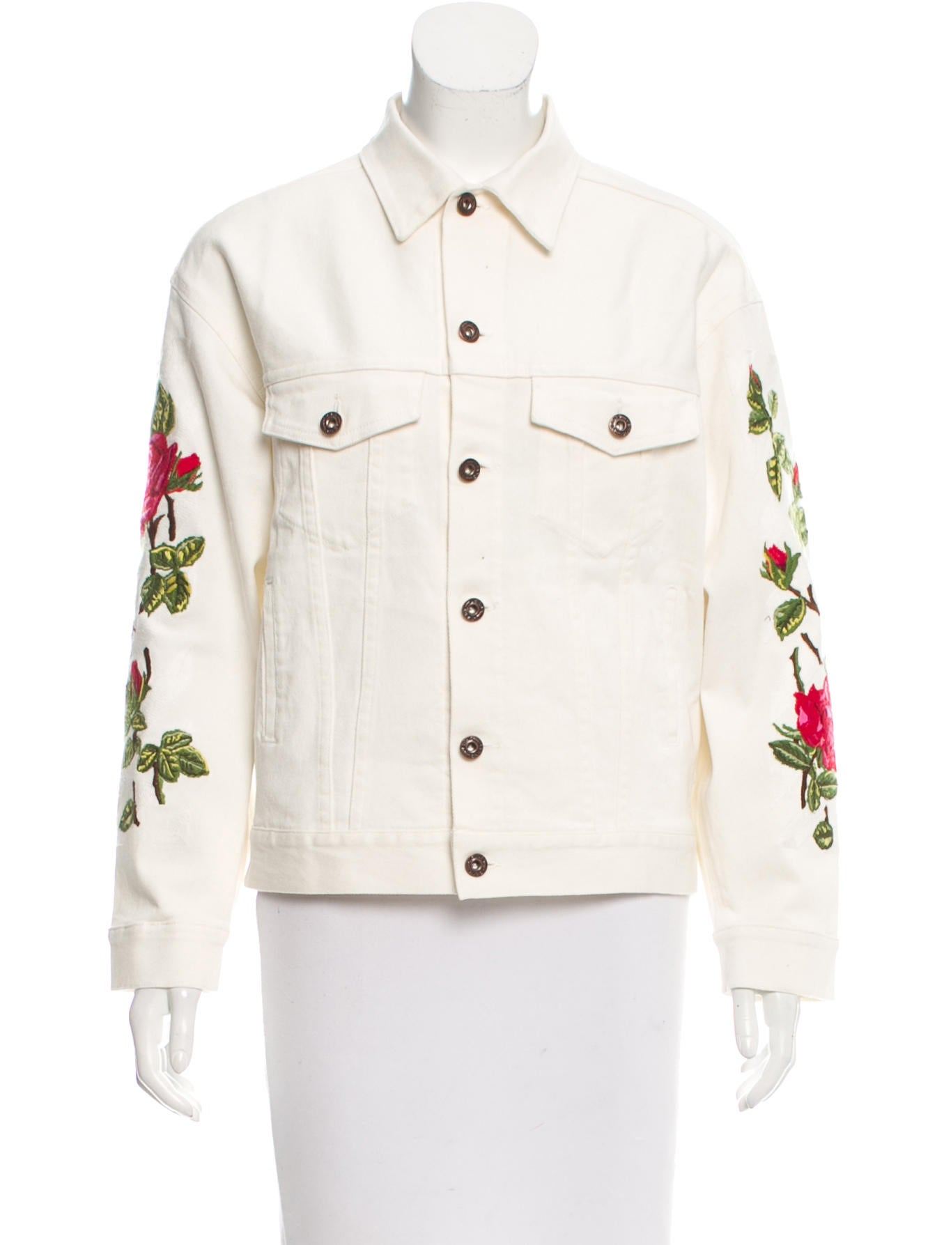 Off white embroidered denim jacket jackets