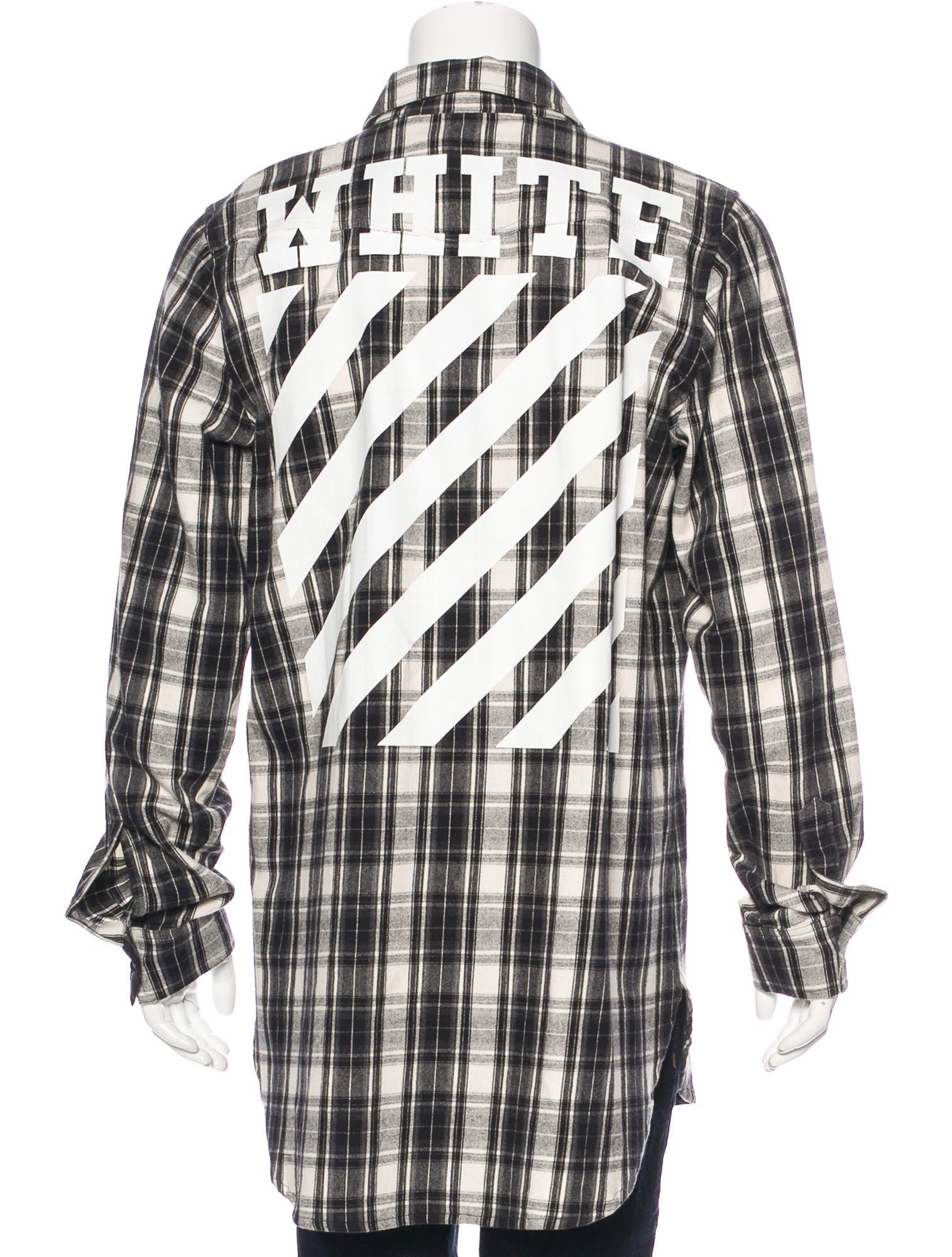Off white tartan plaid flannel shirt clothing off20475 for Black watch plaid flannel shirt