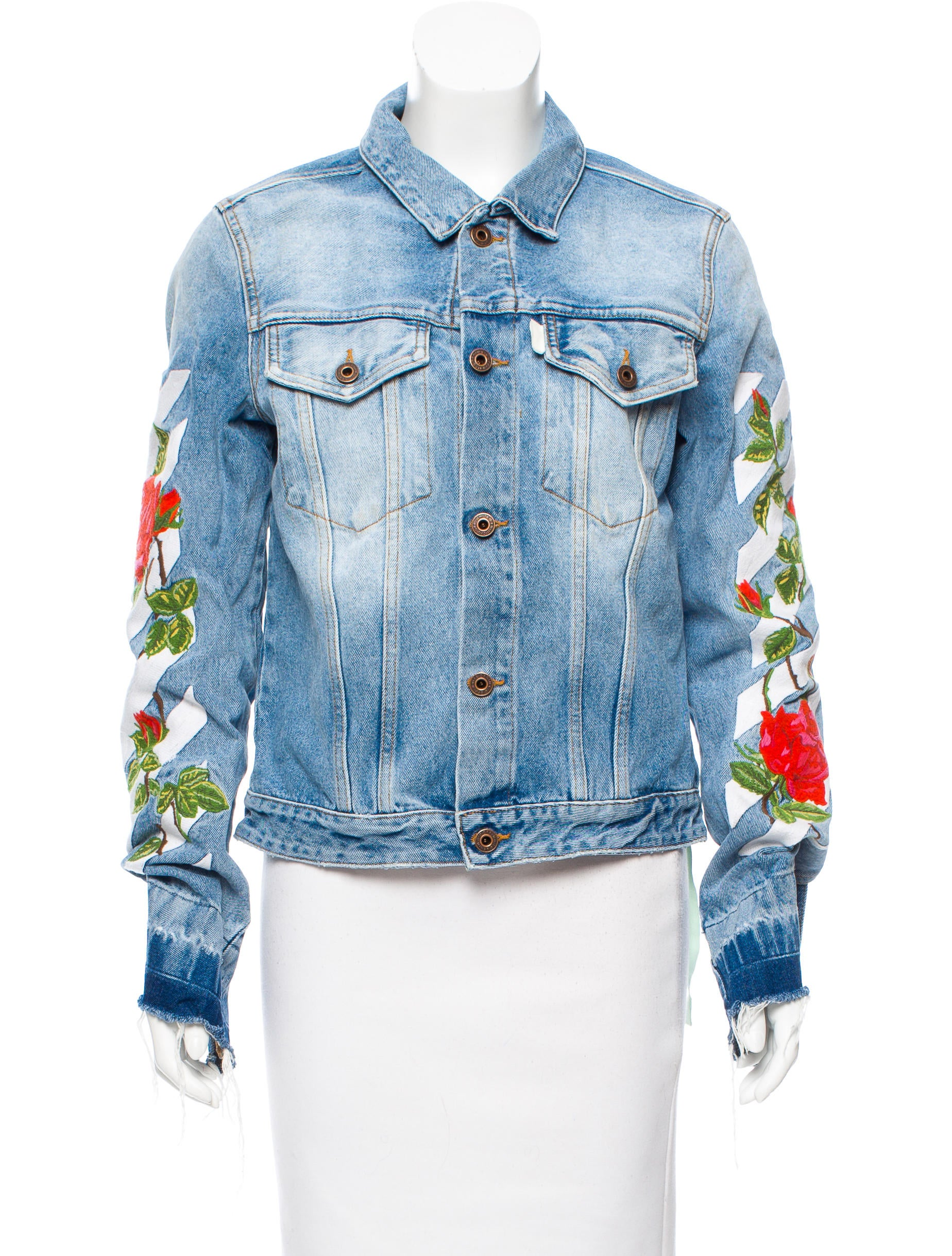 3a5618ff039f Off-White Embroidered Denim Jacket - Clothing - OFF20492