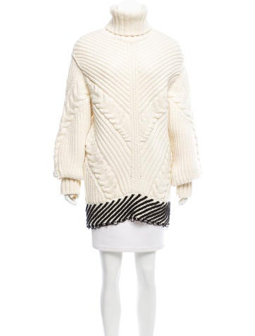 Off-White Virgin Wool Cable Knit Sweater None
