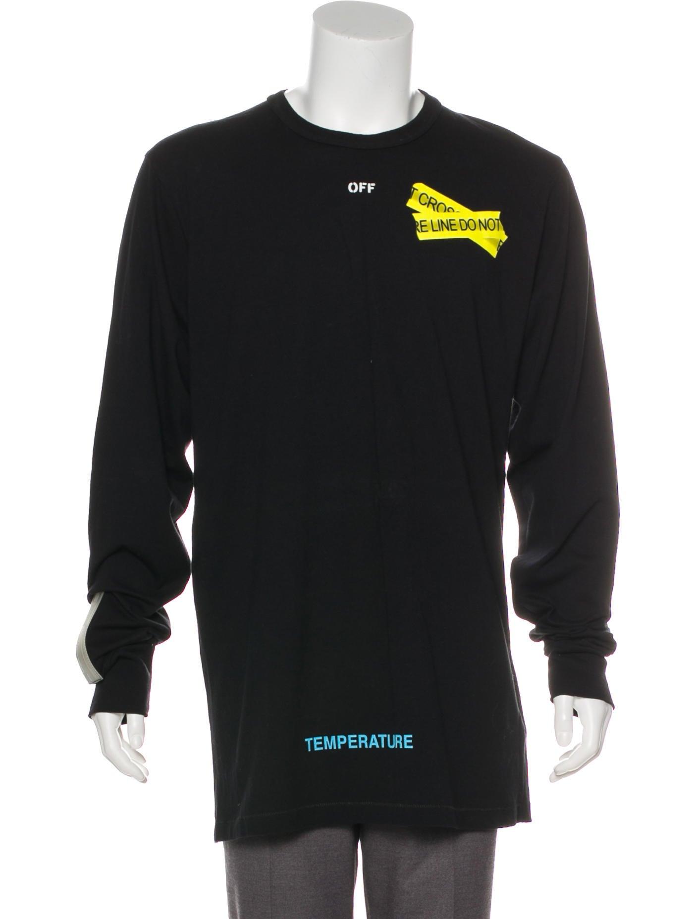 54e46b6e4c Off White Black Long Sleeve Firetape T Shirt | Saddha