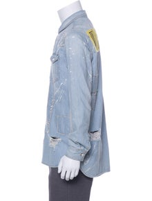 c8e6afd8376b Off-White. Distressed Denim Shirt Jacket