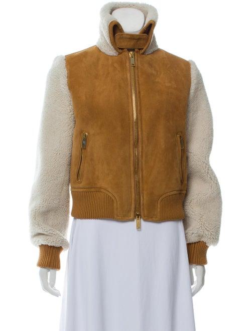 Off-White Shearling Moto Jacket Tan