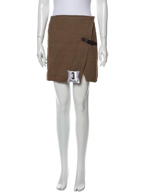 Off-White Plaid Print Mini Skirt White