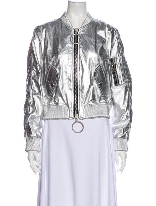 Off-White Lamb Leather Bomber Jacket White