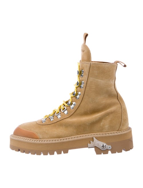 Off-White Suede Combat Boots White