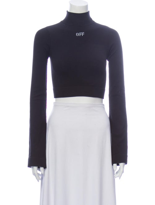Off-White Mock Neck Long Sleeve Crop Top White
