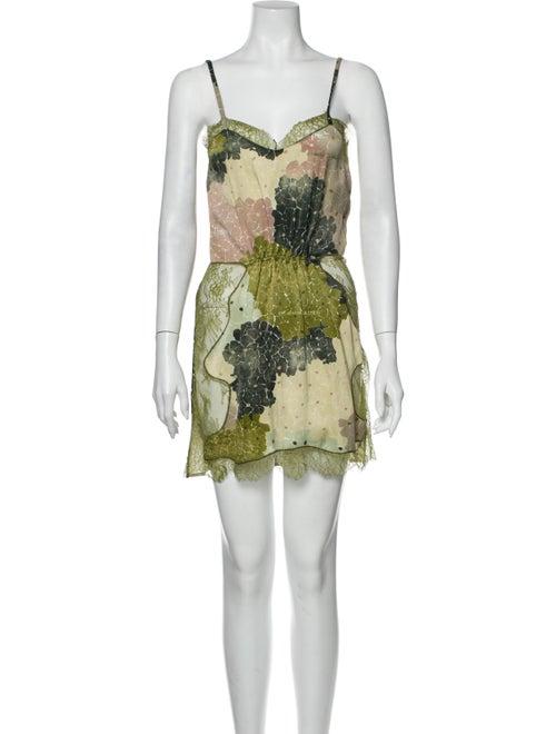 Off-White Floral Print Mini Dress Mini Dress White