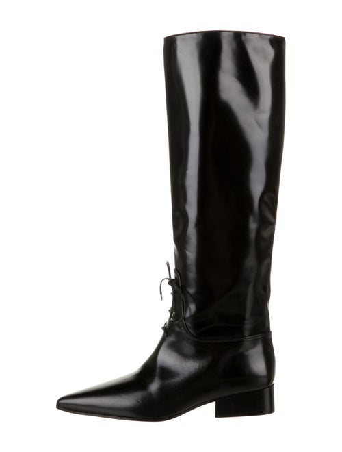 Off-White Patent Leather Lace-Up Boots White