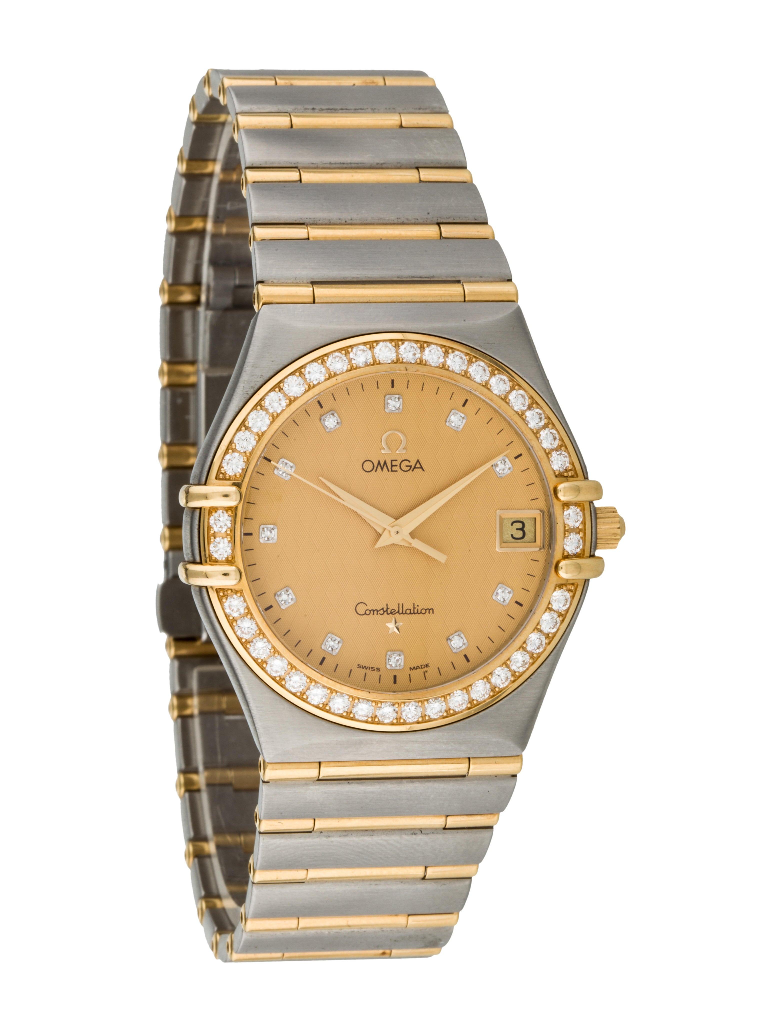 Omega diamond constellation watch bracelet omg20225 the realreal for Omega watch constellation