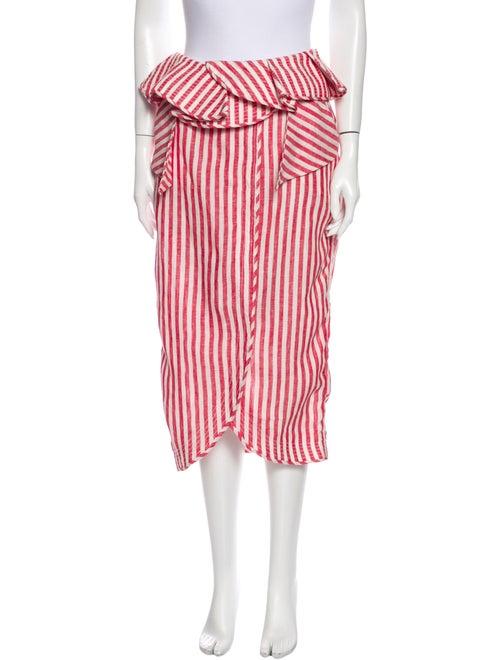 Johanna Ortiz Linen Midi Length Skirt Red