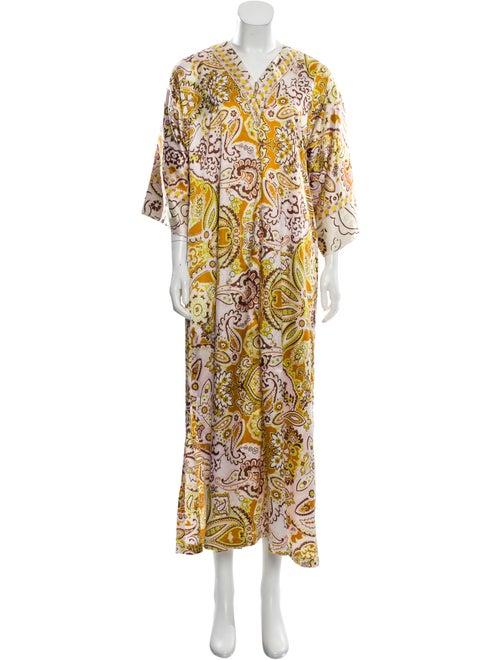 Oscar de la Renta Short Sleeve Maxi Dress Brown