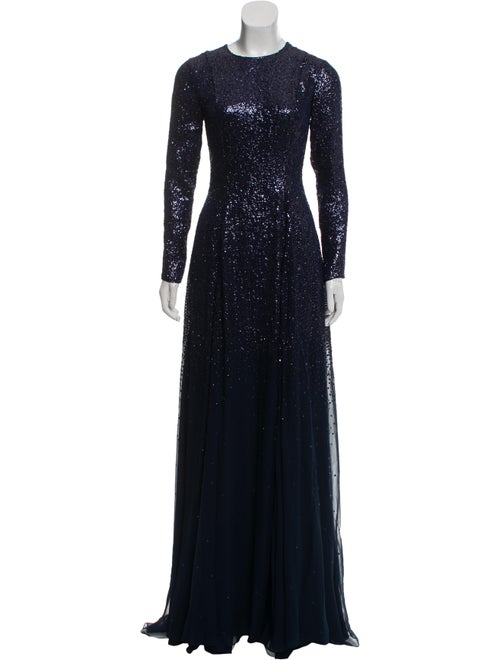 Oscar de la Renta Silk Maxi Dress w/ Tags Blue - image 1