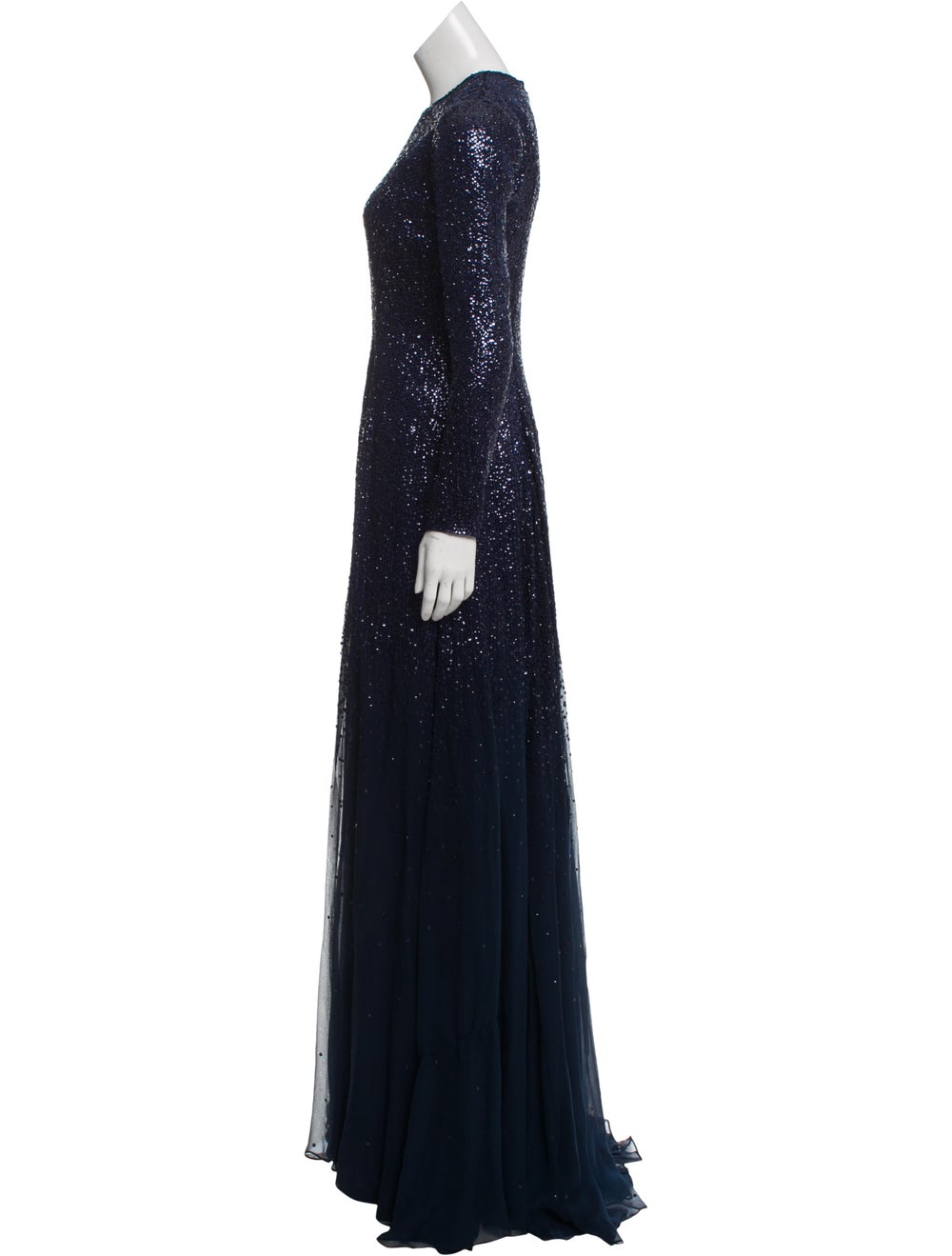 Oscar de la Renta Silk Maxi Dress w/ Tags Blue - image 2